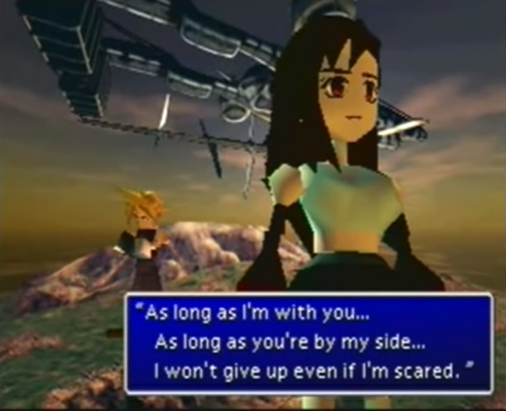 Cloud and Tifa talk in Final Fantasy 7.