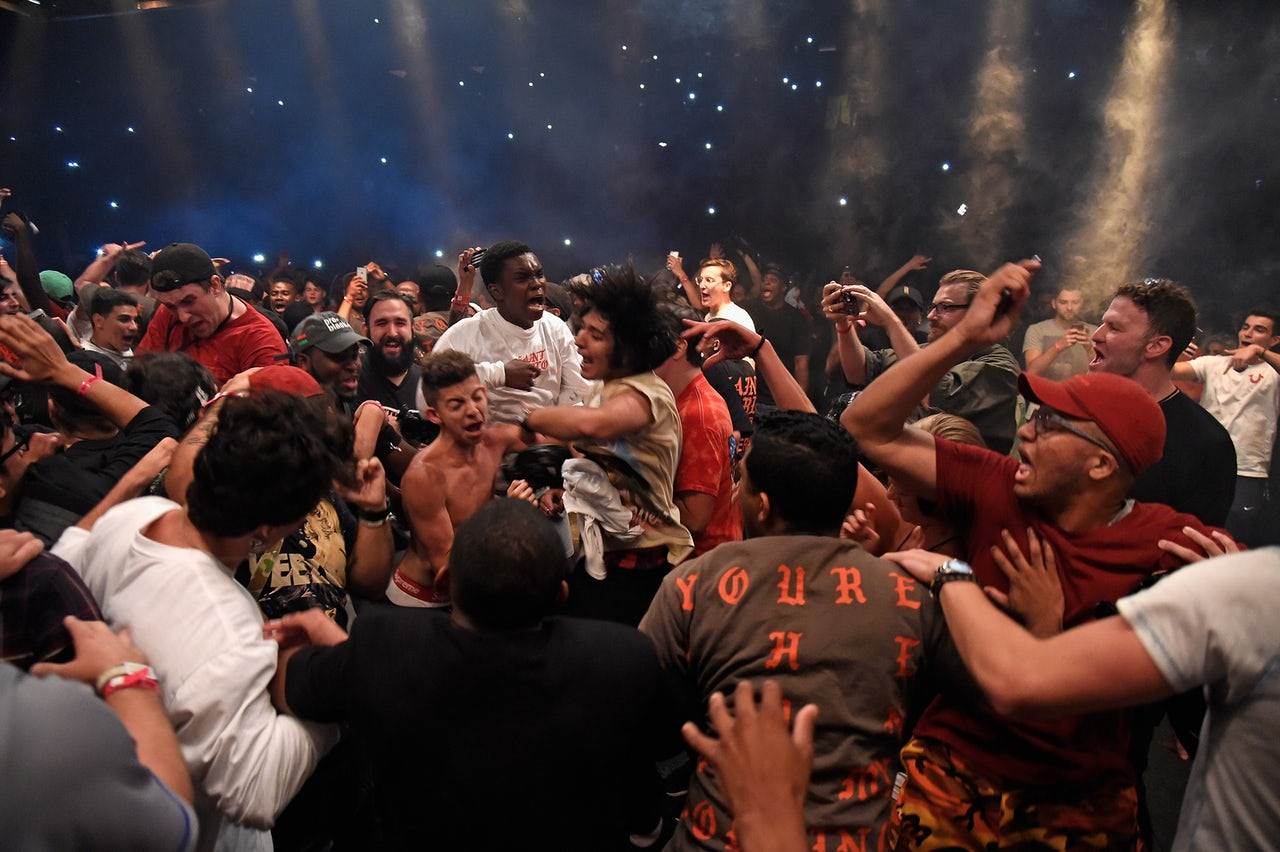 Kanye fans moshing at a Saint Pablo Tour stop in New York City.