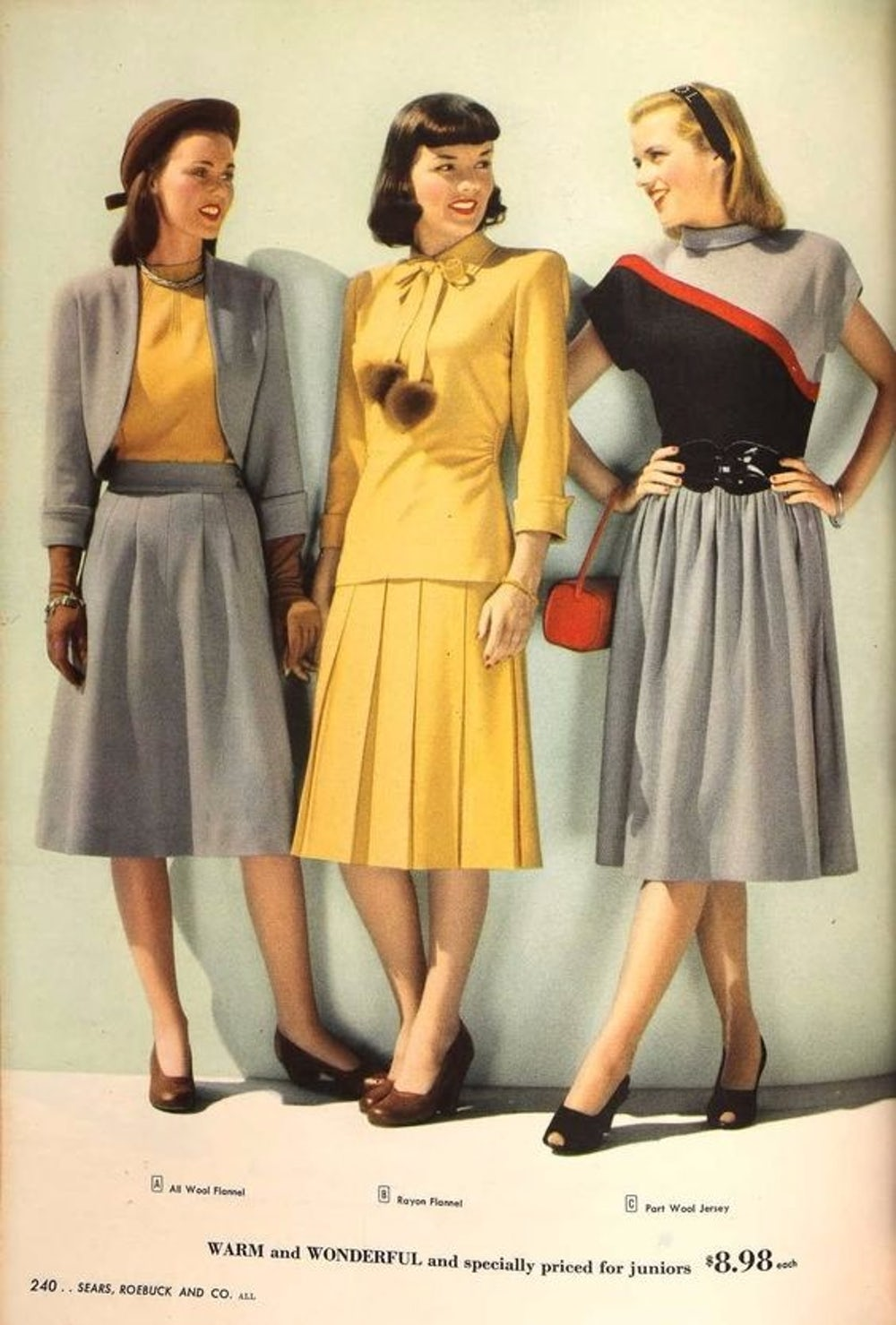 Pom-pom tassels in a 1940s Sears catalog.