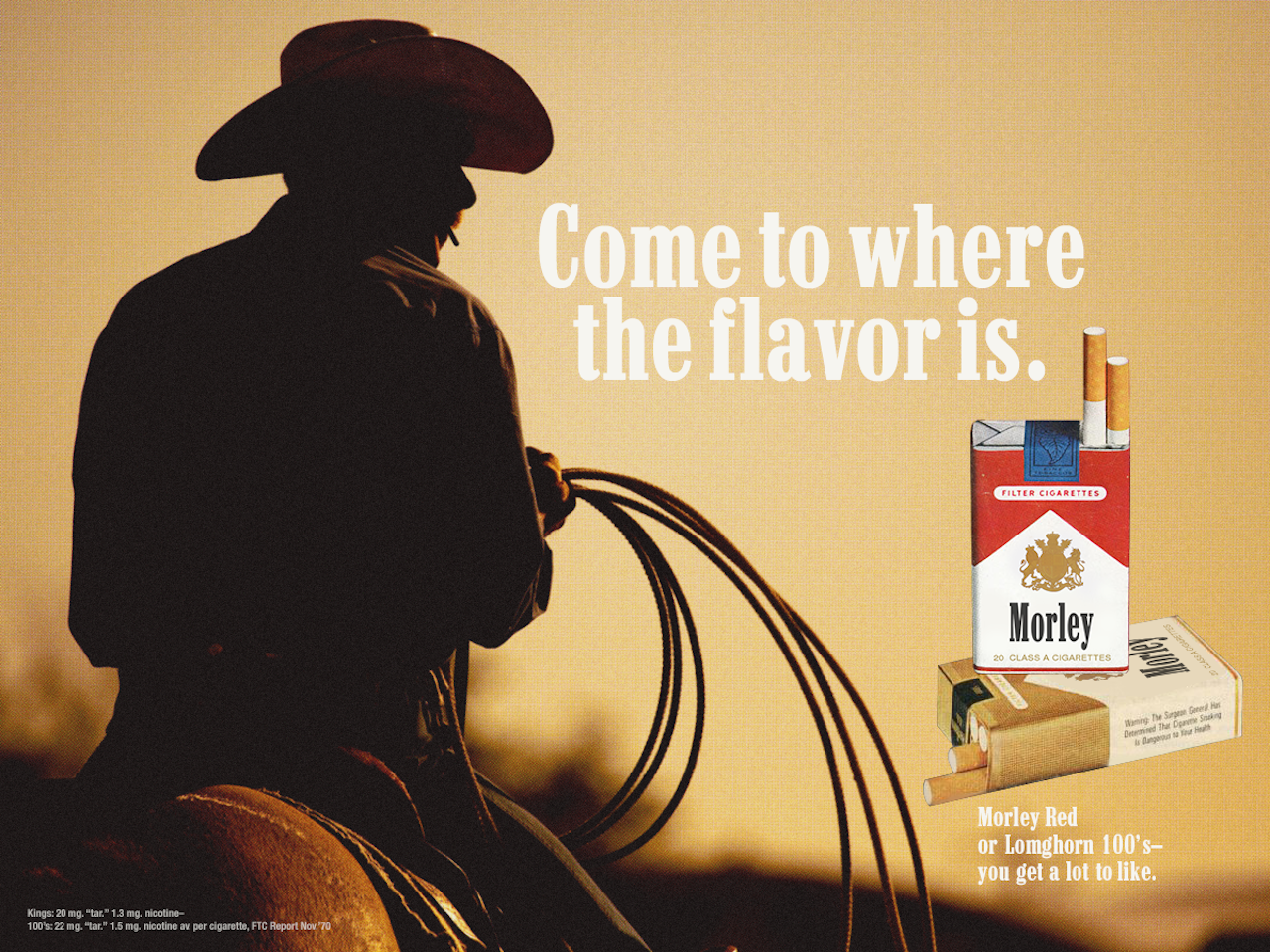 Fake ad for Morley cigarettes
