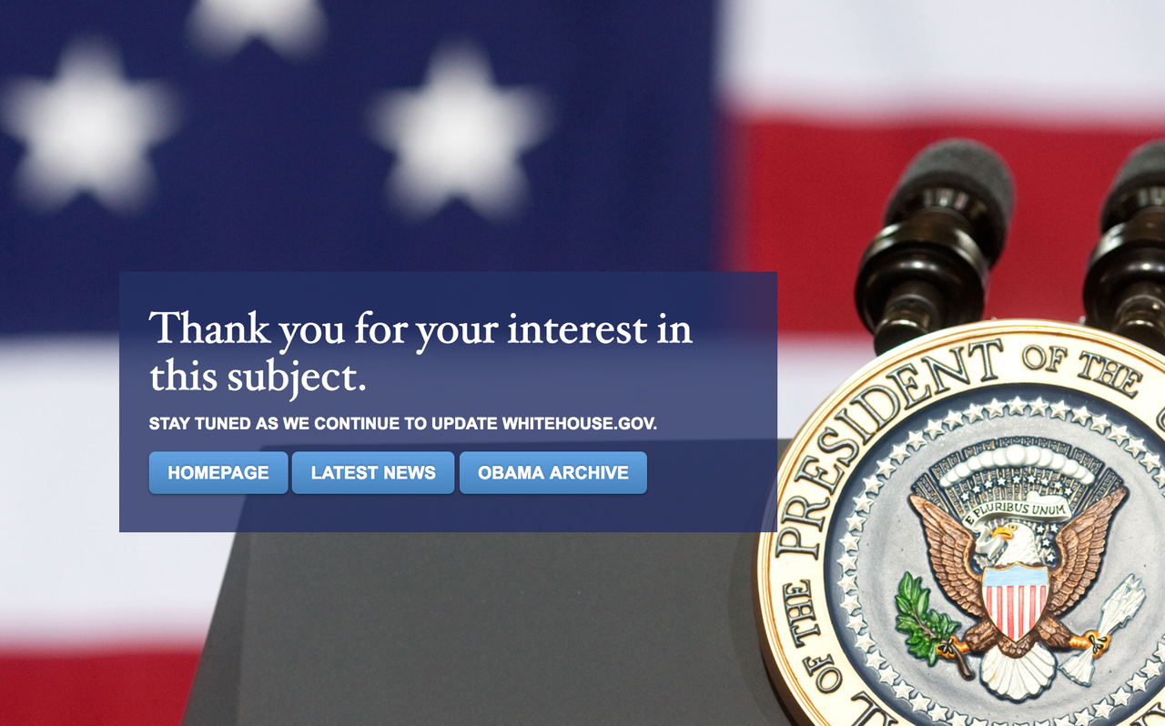 Error page on Whitehouse.gov after the Trump administration took over.