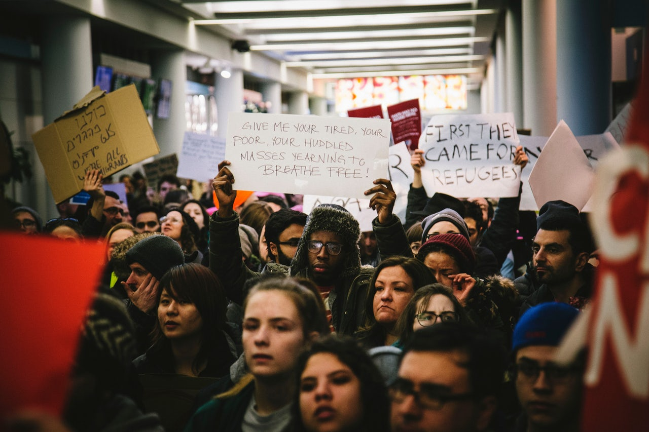 Protesters at O'Hare Airport in Chicago.