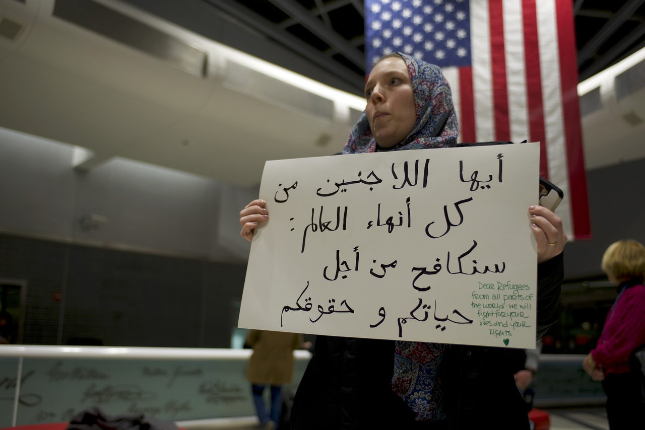 Sofia Fenner protests the Muslim Ban of President Donald Trump at the International Arrivals of Philadelphia International Airport.