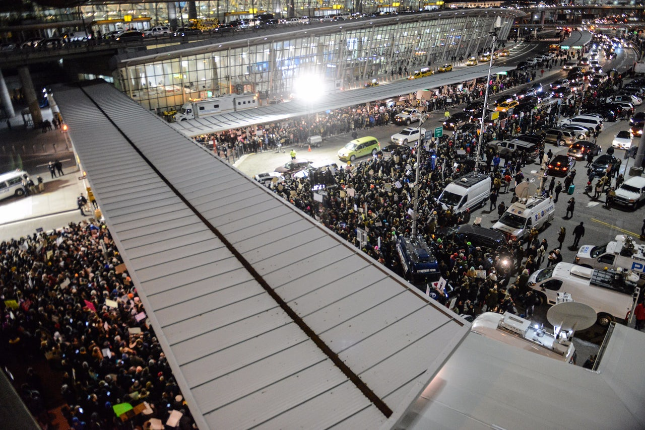 The crowd at JFK Airport.