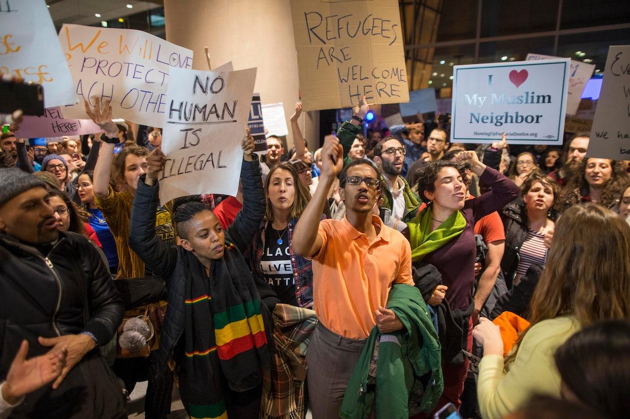 Protesters at Logan International Airport.
