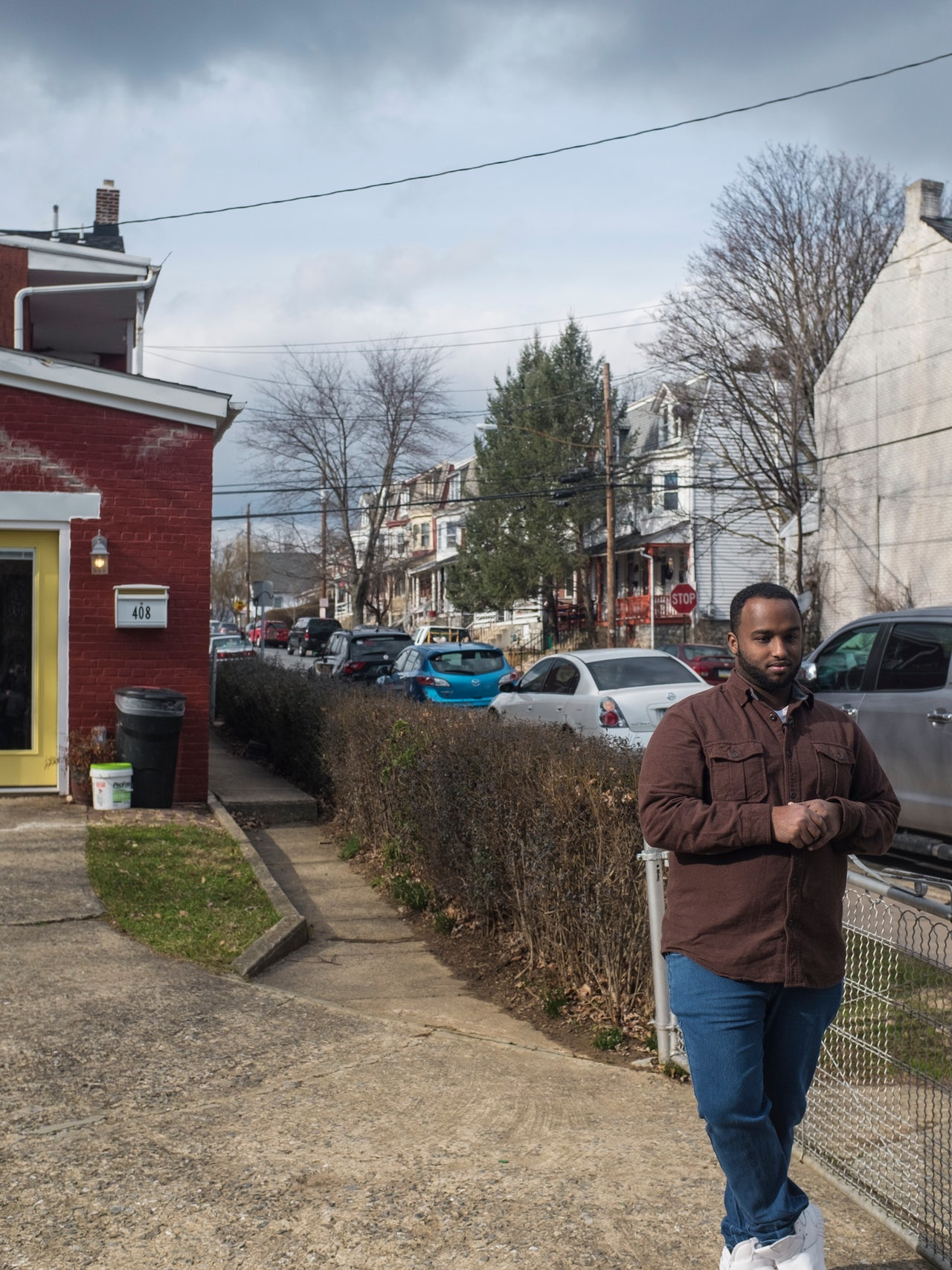 Mustafa O. Nuur, a 23-year-old refugee from Somalia, outside his office in Lancaster, Pennsylvania.