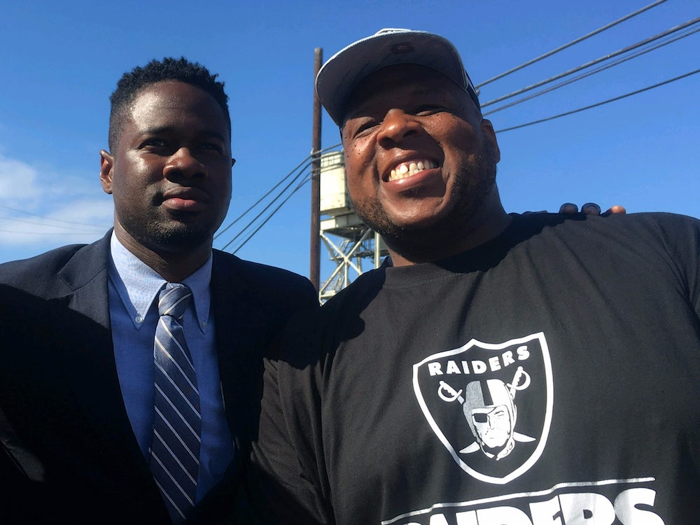 Keldren Joshua (right) and his attorney, Andre Townsend.