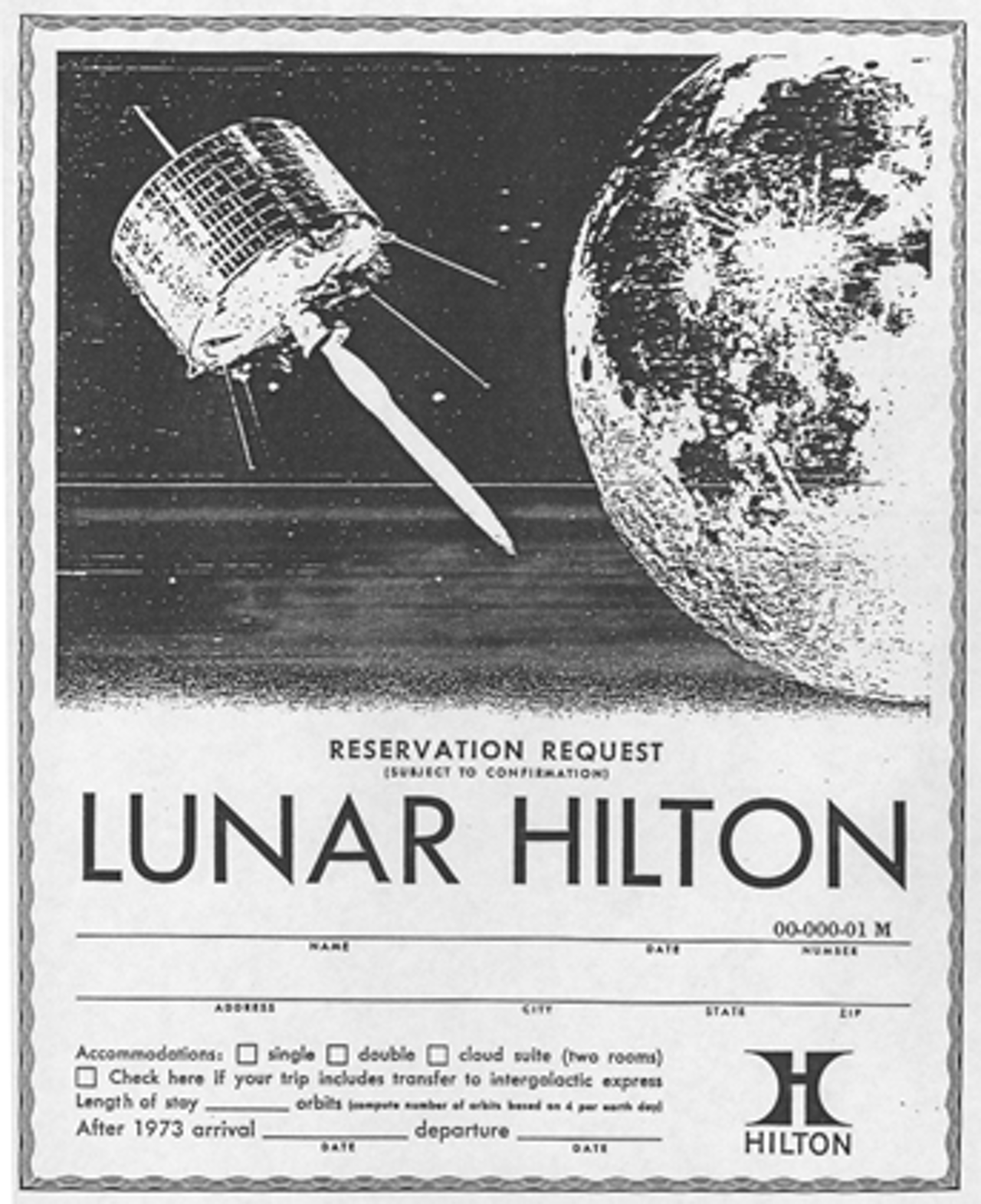Reservation card mockup for the Lunar Hilton.