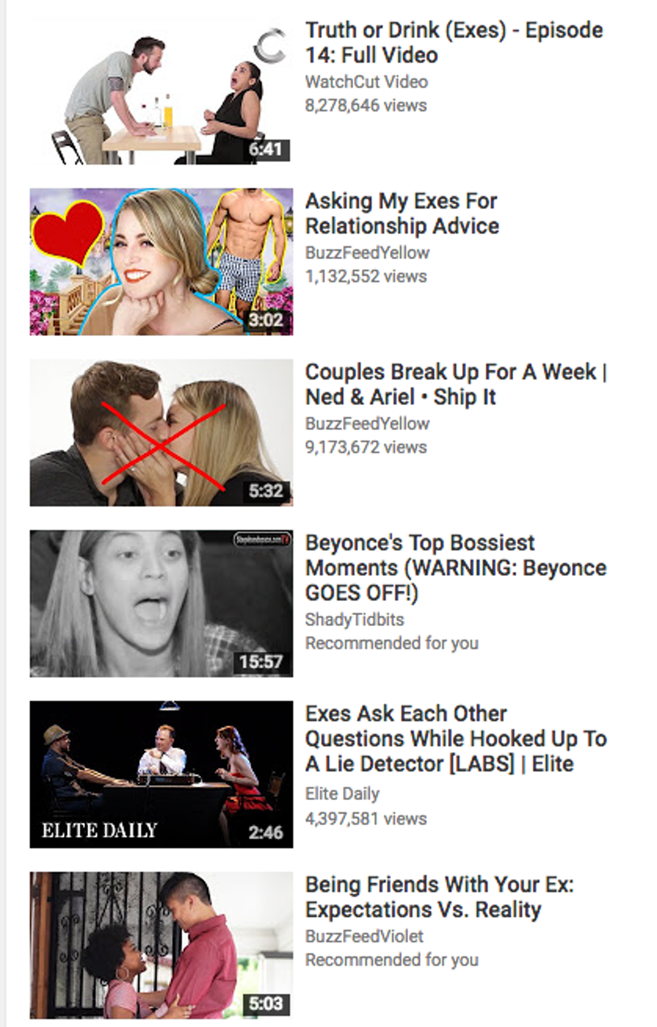 A world of ex-related content on YouTube (and Beyoncé)