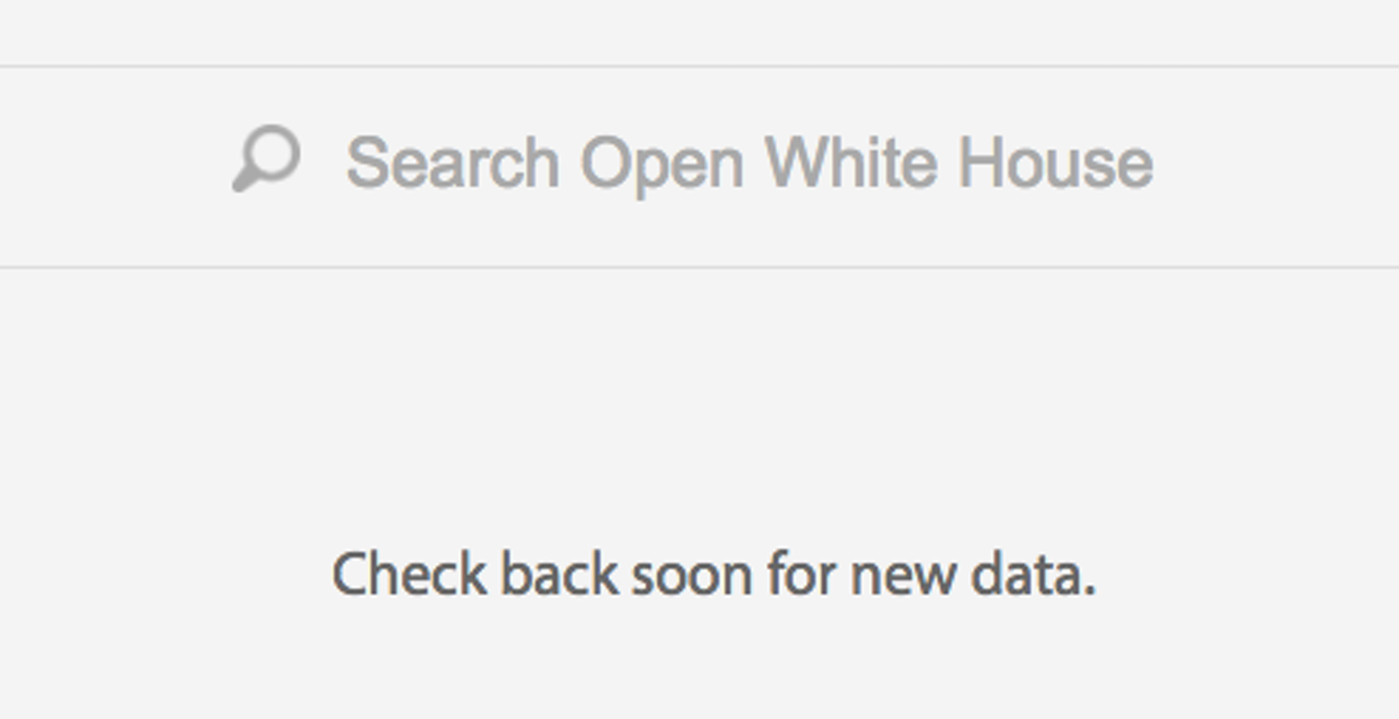 Screencap of current White House Open Data website