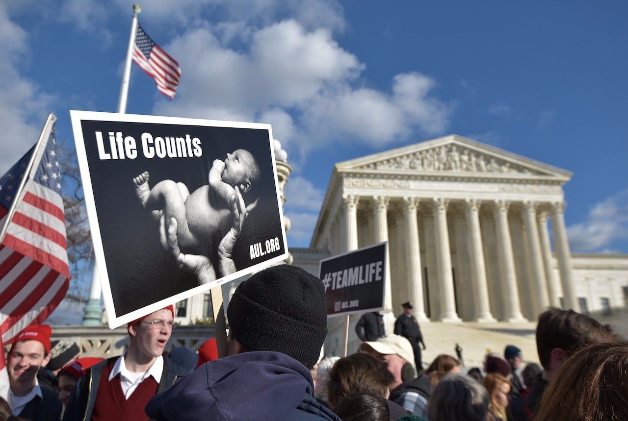 Anti-abortion activists take part in the annual March for Life in front of the U.S. Supreme Court on January 22, 2015, in Washington, D.C.