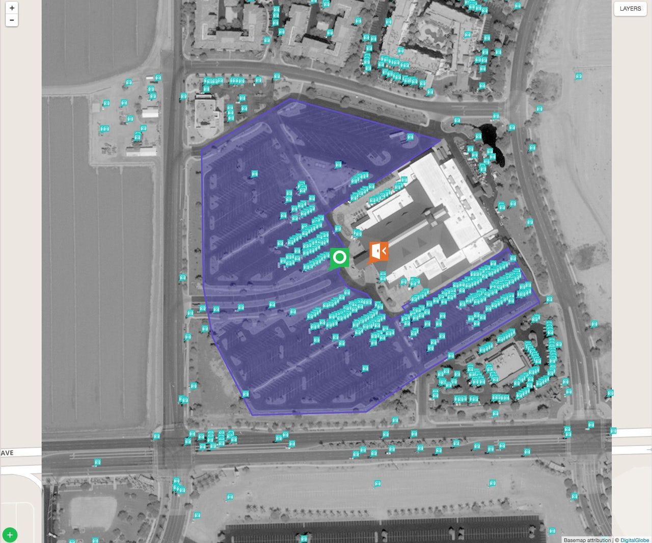 An image of a Cabela's parking lot taken by Digital Globe and analyzed by Orbital Insight.