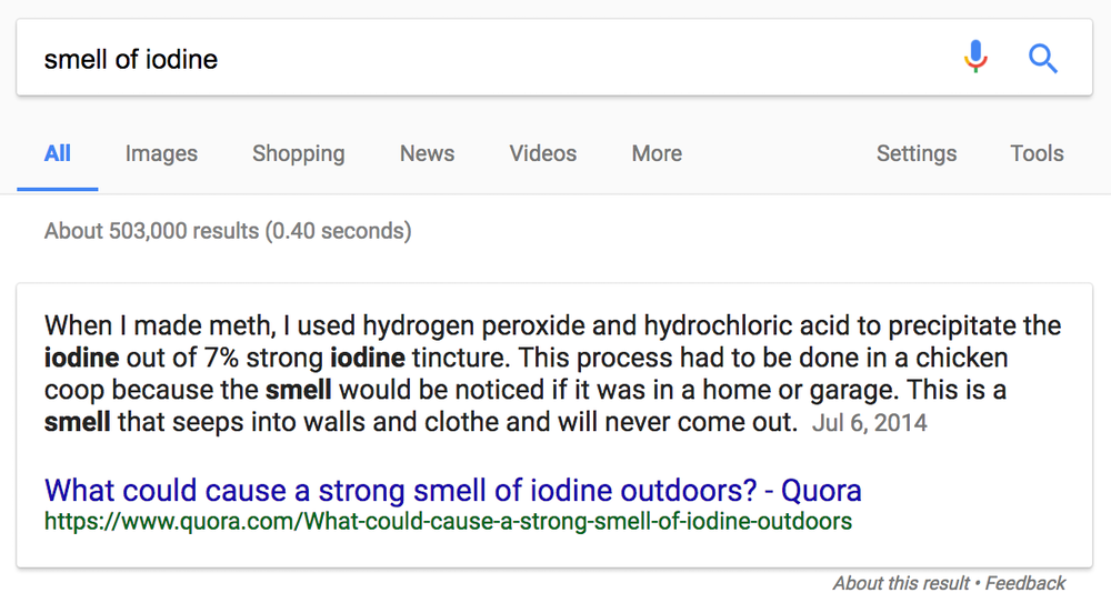 A featured snippet from Google discovered by Twitter user Aimee Davis.