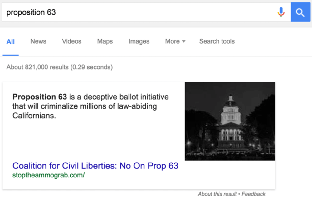 This was Google's featured answer for a query about a California gun control bill in October 2016. Hours after Medium co-founder Ev Williams blogged about the answer, it was changed.