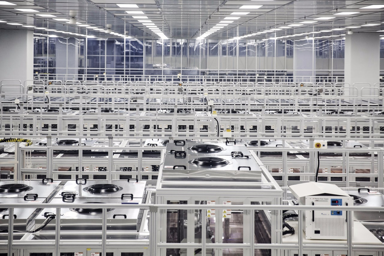 A fully automated assembly line at a BOE Technology Group Co. factory in Chongqing, China.