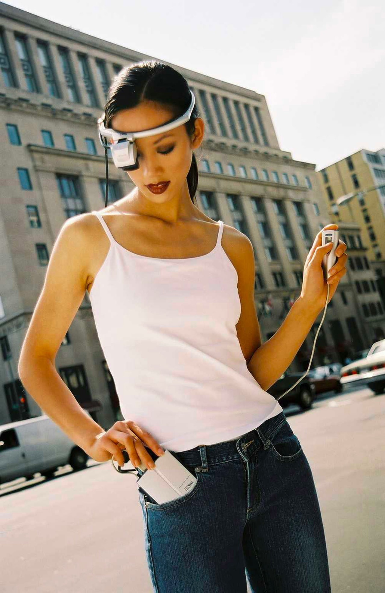 A model wearing a 2002 version of the Mobile Assistant, the POMA