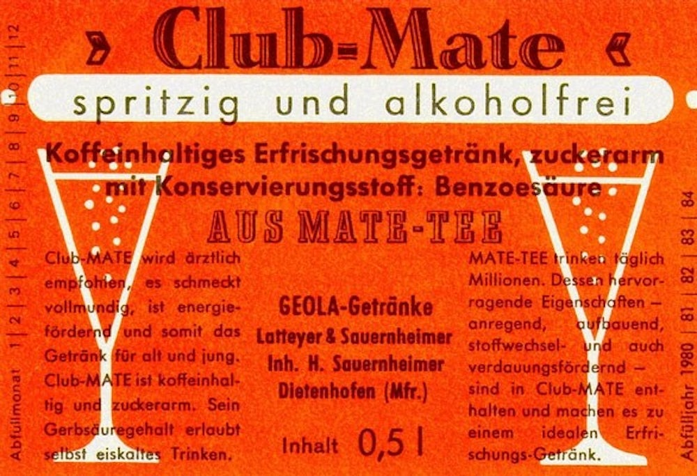 An early German advertisement for Club-Mate describes it as having health benefits.