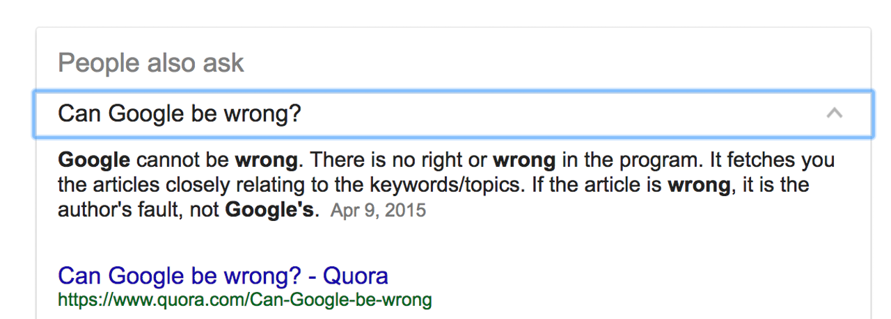 A Google direct answer that address the question of whether Google can ever be wrong.