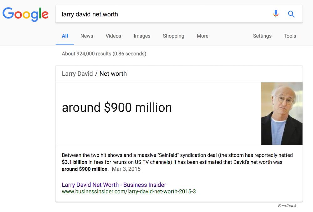 Google result for