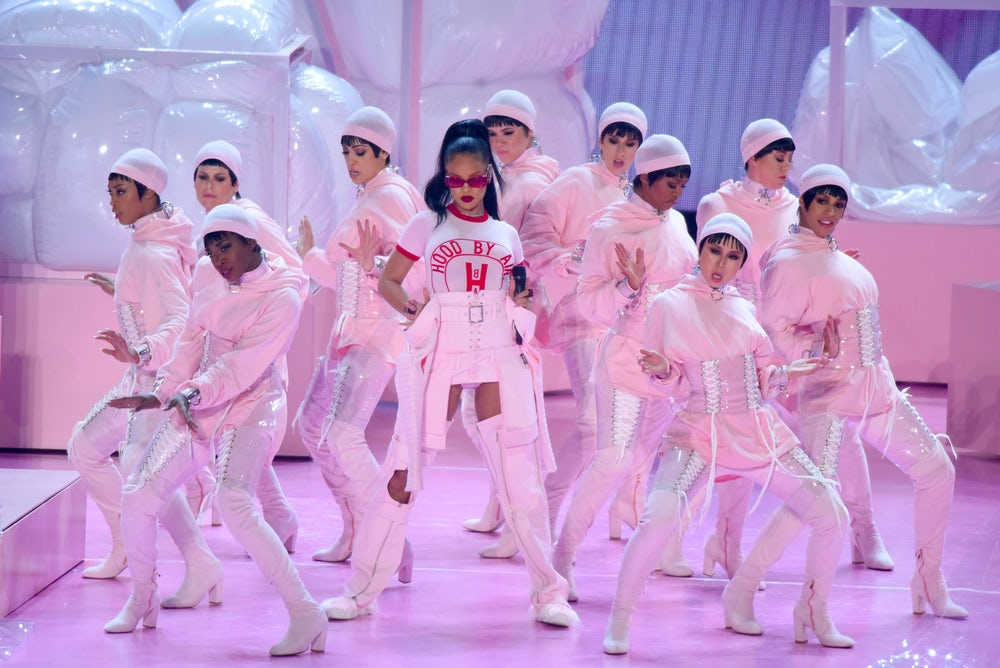 Rihanna wearing Hood By Air during a performance at the 2016  MTV VMAs.