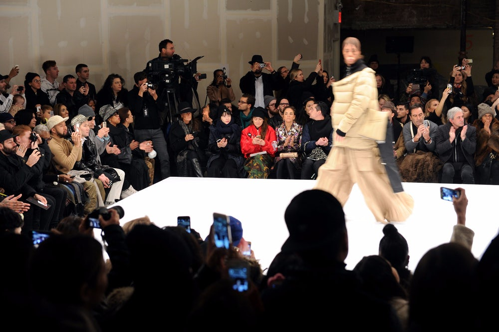 A model walking in Hood By Air's Fall 2015 show at New York Fashion Week.
