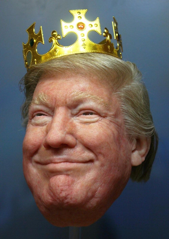 A realistic mask of Donald Trump.