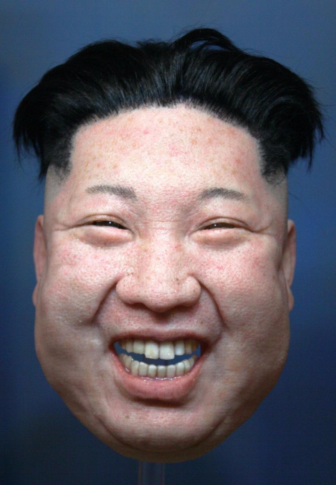 A realistic mask of Kim Jong-un.
