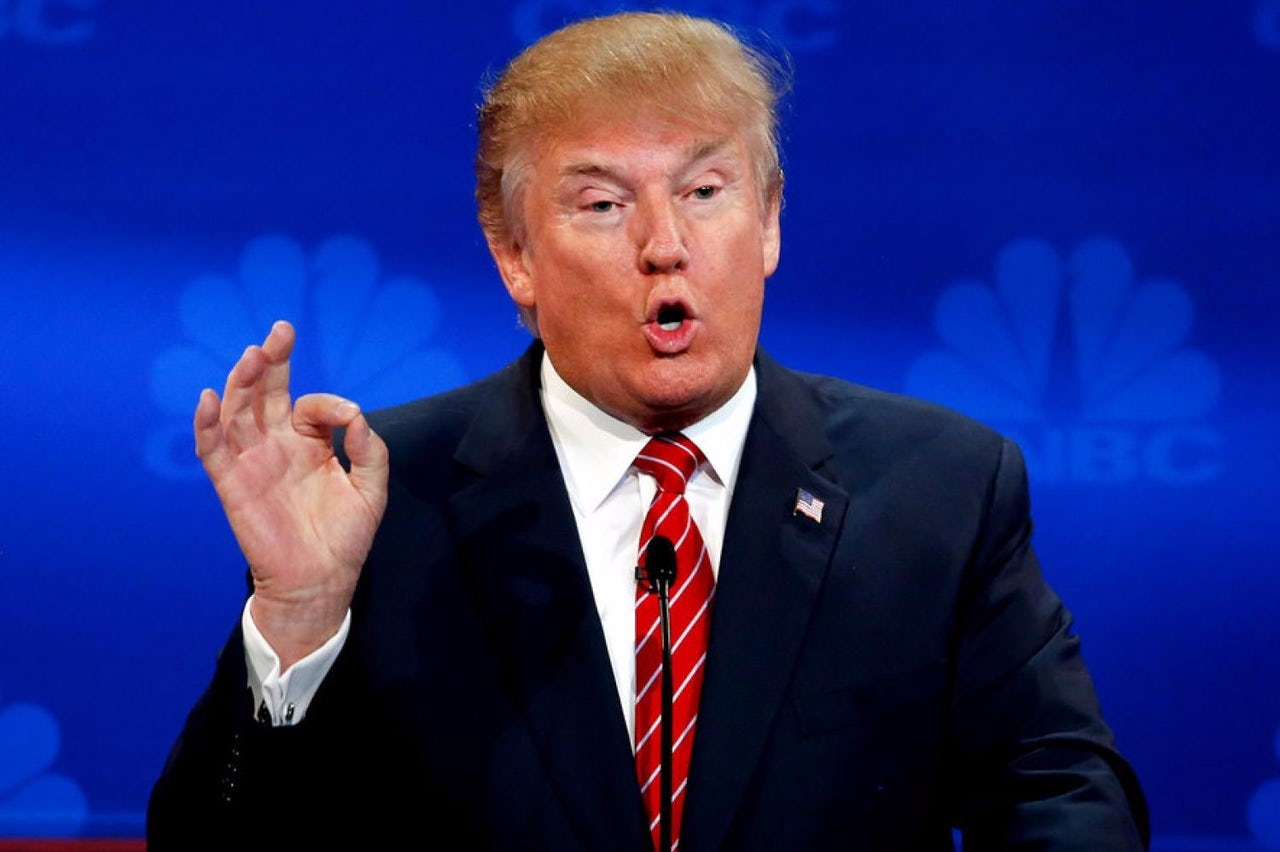 Trump at a GOP debate hosted by NBC.