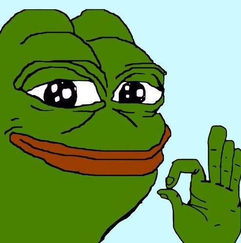 "A version of ""Smug Pepe"" throwing the OK hand sign."