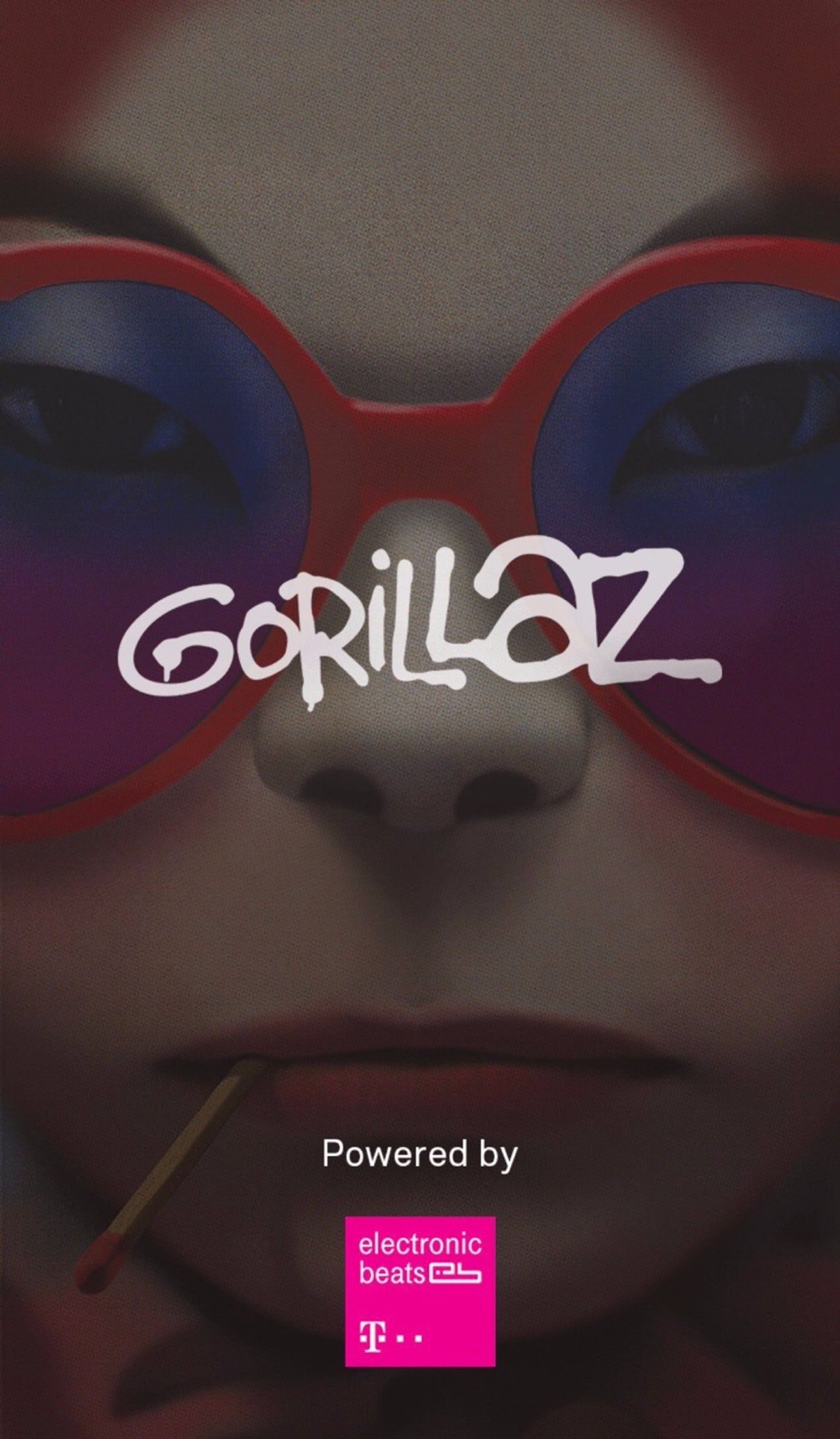 The loading screen of The Gorillaz's augmented reality mobile app.