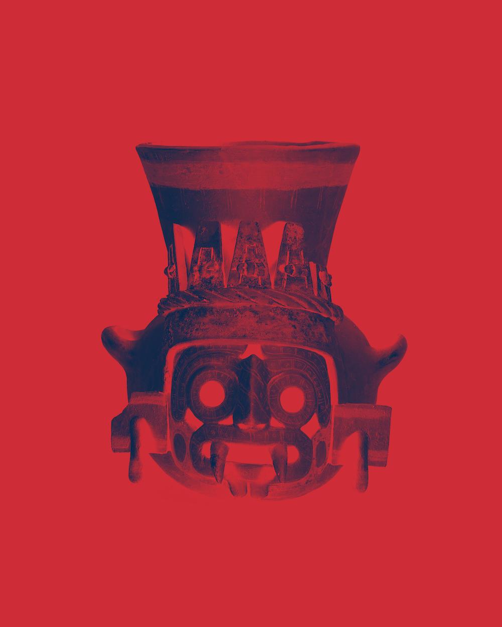 Urn depicting Tlaloc, the rain god.