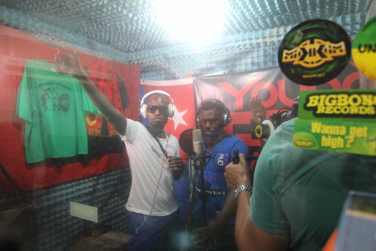 African students record in a studio in Santiago de Cuba.