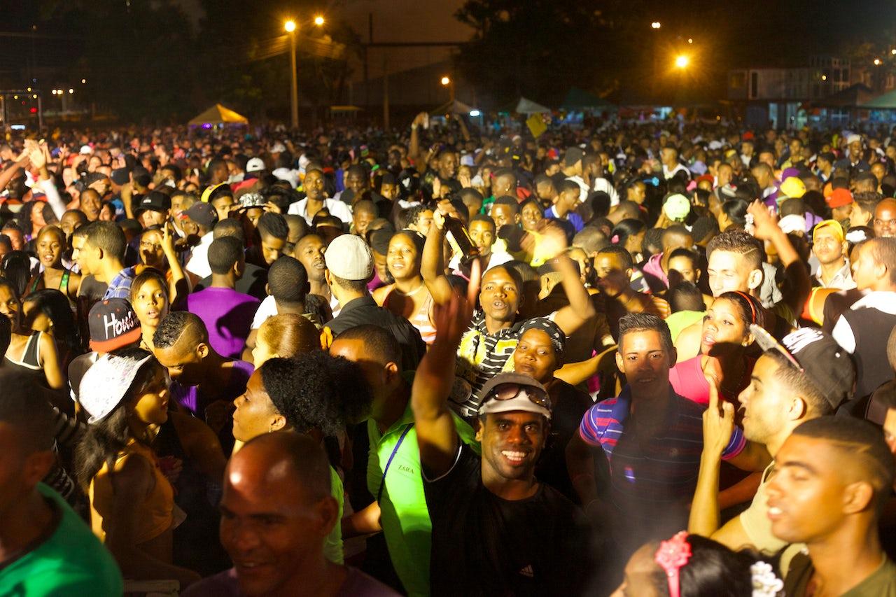 People gather for an open-air party in Santiago de Cuba.