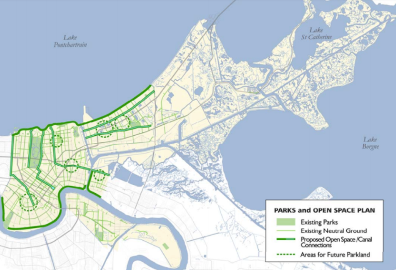 A map published in January 2006, four months after Katrina, proposed turning whole neighborhoods into parkland.