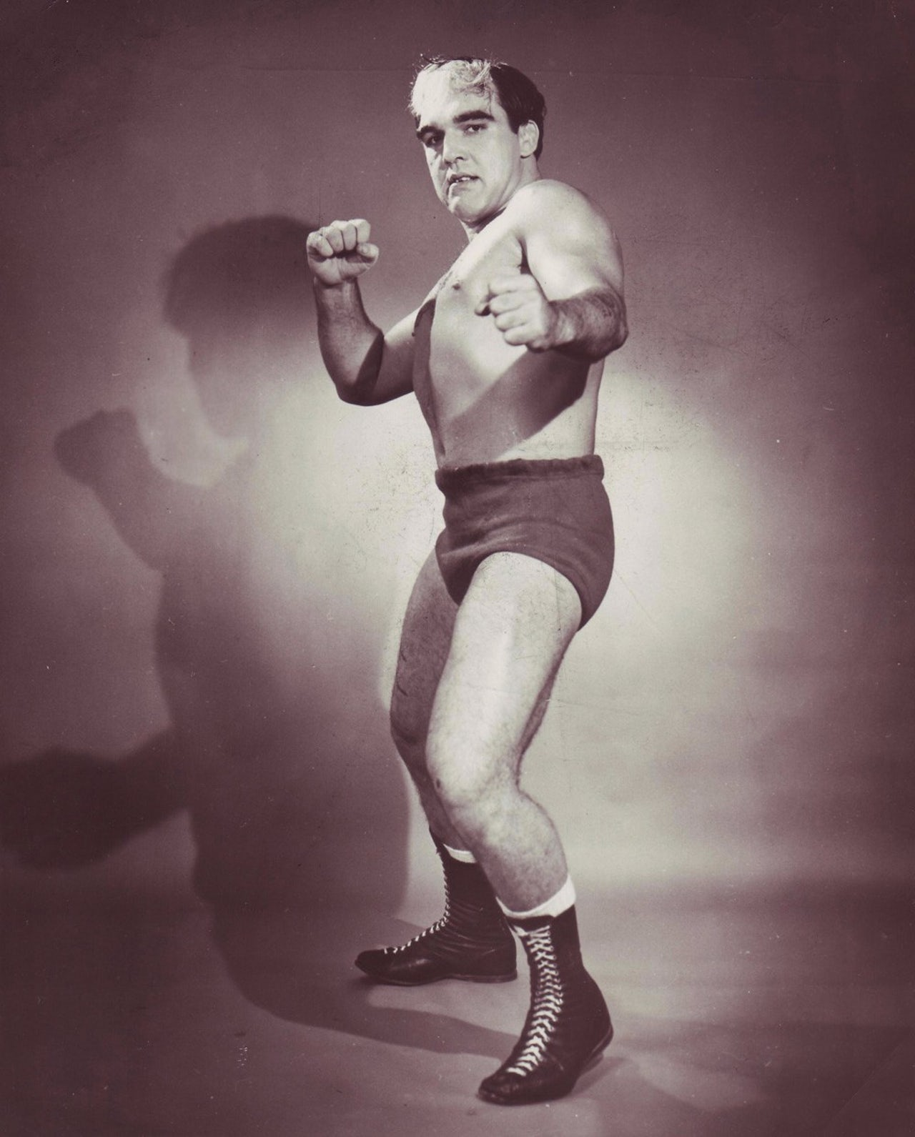 This photo, taken in the late 1950s, is a promotional images used during Monroe's work in the Memphis wrestling promotion.