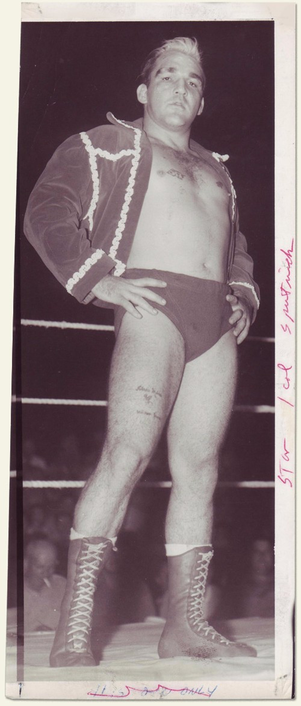 As Monroe aged, the punishment he received in the ring took a visible toll on his body, as seen in this photo from 1964 or 1965.