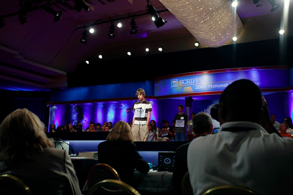 Colin Qualters competes in the preliminary rounds of the Scripps National Spelling Bee in 2007.