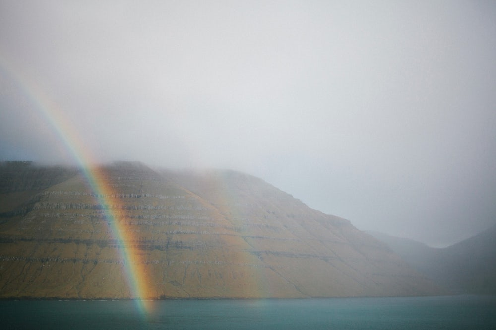 A double rainbow over Kalsoy, one of the Faroe Islands.