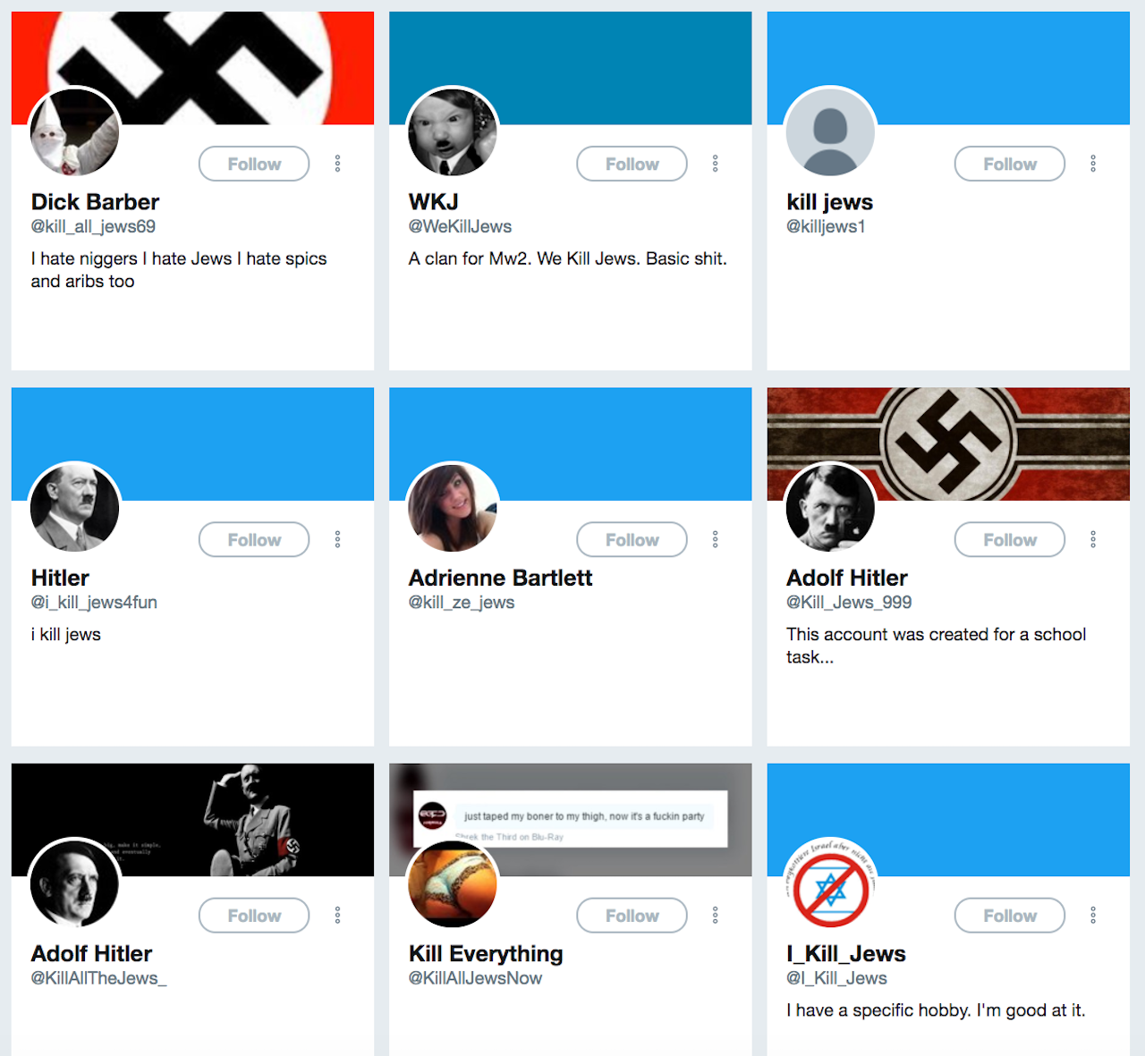 Twitter accounts that have not been banned as of this writing.