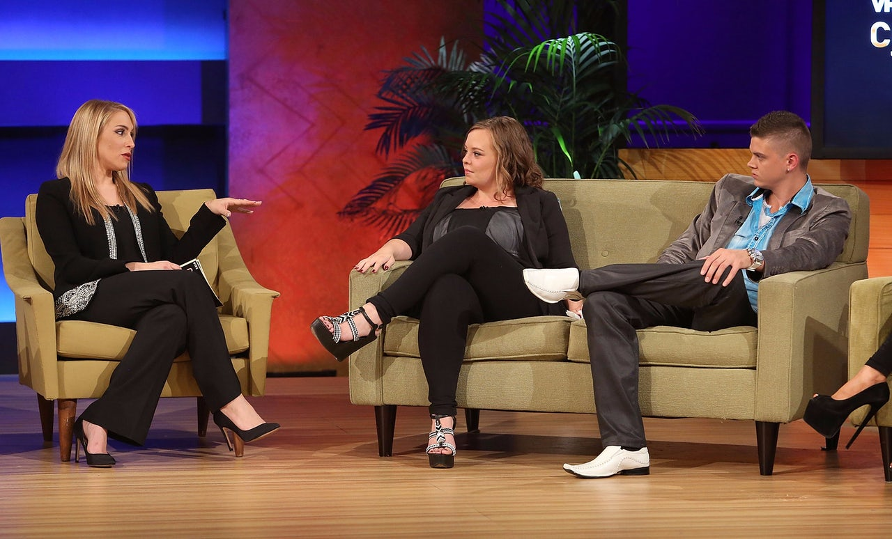Dr. Jenn Mann and 16 and Pregnant stars Catelynn Lowell and Tyler Baltierra during VH1's Couples Therapy With Dr. Jenn Reunion in 2014.