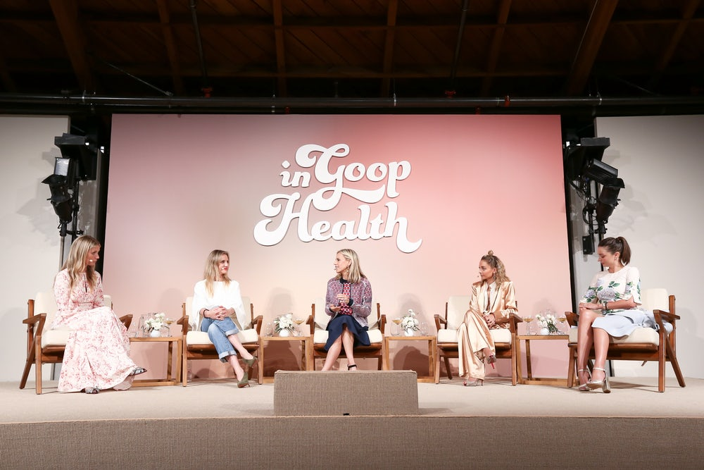 "Gwyneth Paltrow, Cameron Diaz, Tory Burch, Nicole Richie, and Miranda Kerr at ""In Goop Health."""