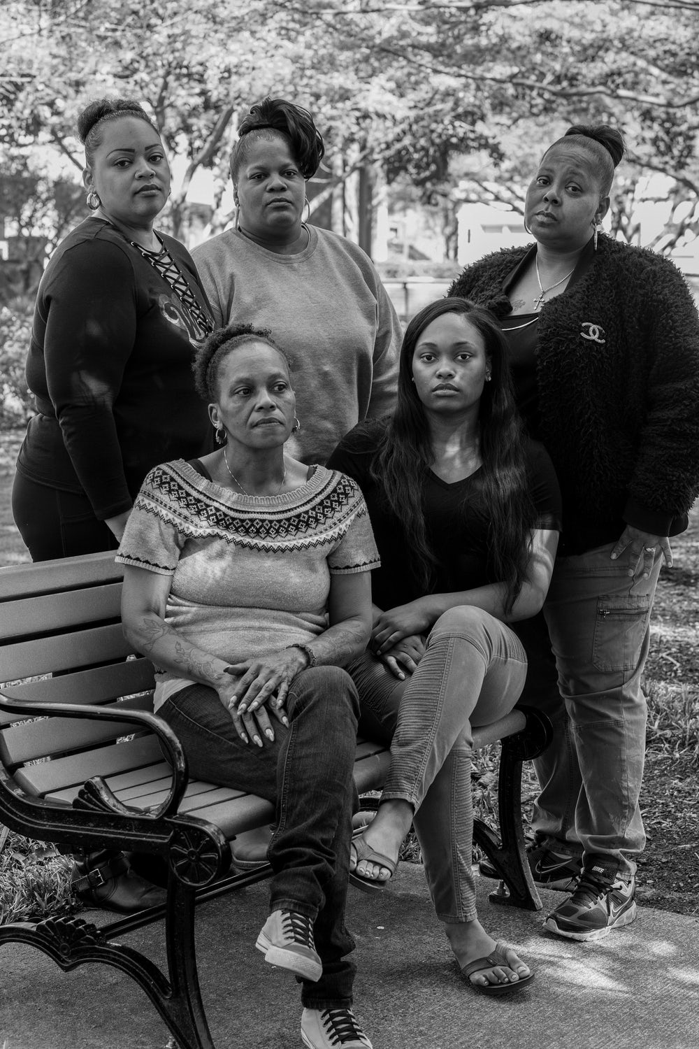 Clockwise from back left: Aisha Flood, Dawn Prince (a family friend), Rose Harden (an aunt of Jaqwan and Maurice), Ashley McLeod, and Cynthia Harden (the mother of Jaqwan and Maurice).