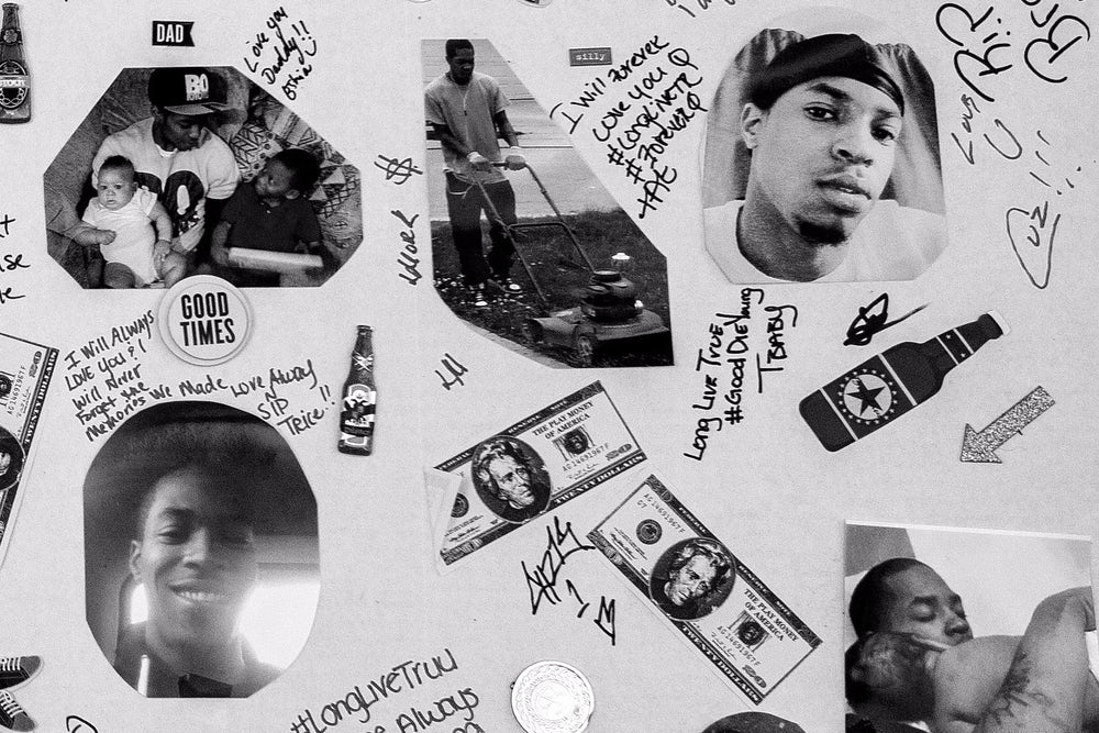 A memorial collage made after Jaqwan Terry's death.