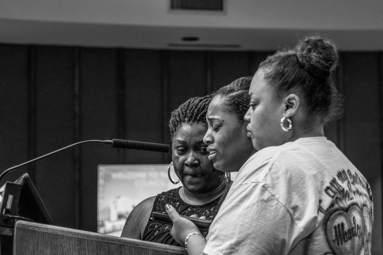 Rolanda Byrd, the mother of Akiel Denkins, Ashley McCleod, and Aisha Flood speak at the Raleigh council meeting.