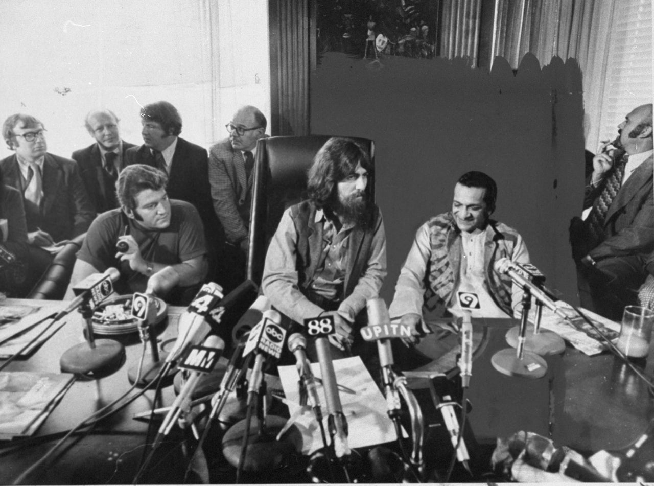 Allen Klein, George Harrison, and Ravi Shankar at a press conference for the Concert for Bangladesh in 1971.