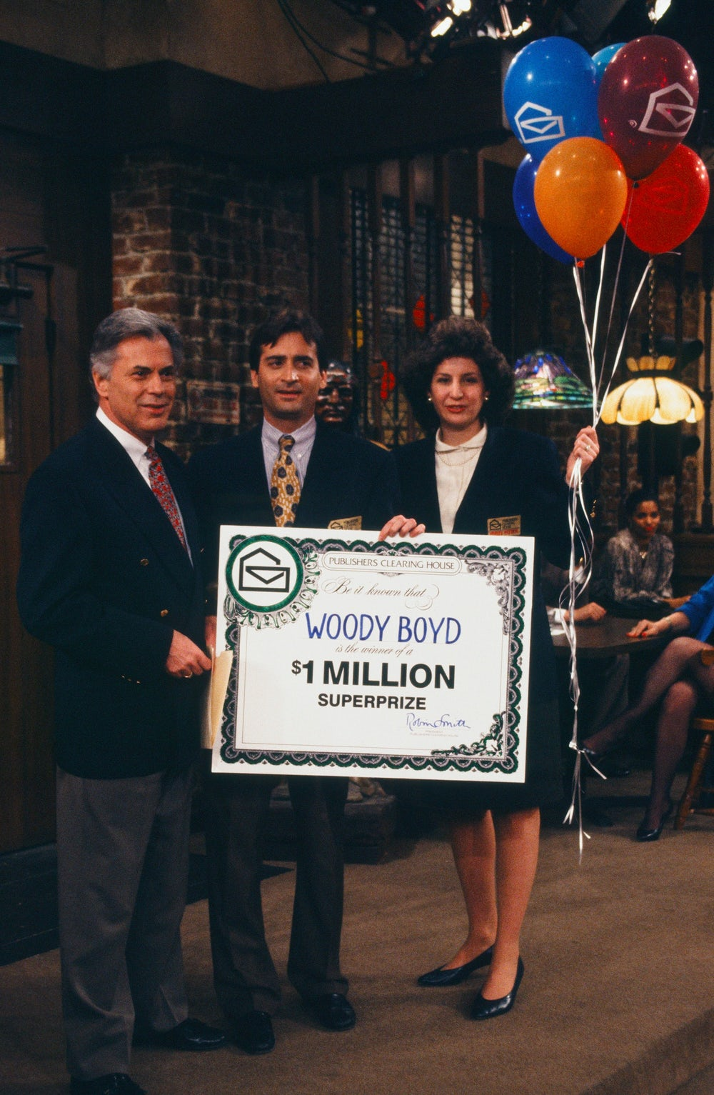 Publishers Clearing House awarders in a 1993 episode of Cheers.