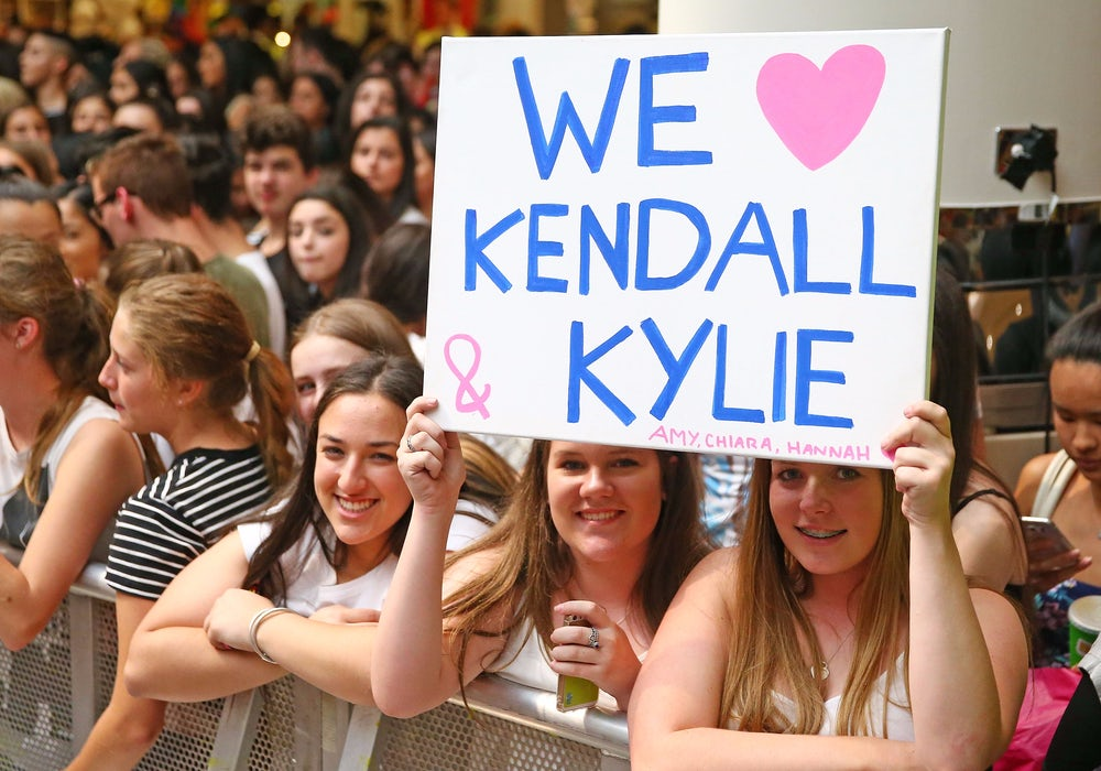 Fans wait for Kendall and Kylie Jenner at a mall appearance in Melbourne in 2015.