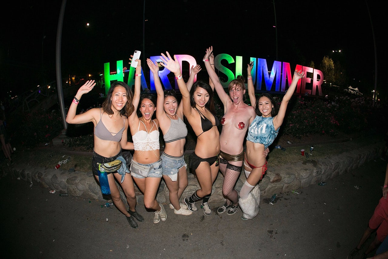 Ravers at HARD Summer Music Festival 2015 in Pomona, California.