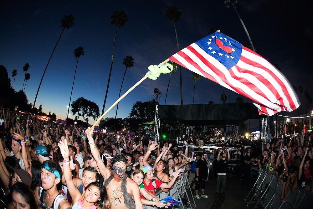 Ravers at HARD Summer Music Festival 2015 in Pomona, California.