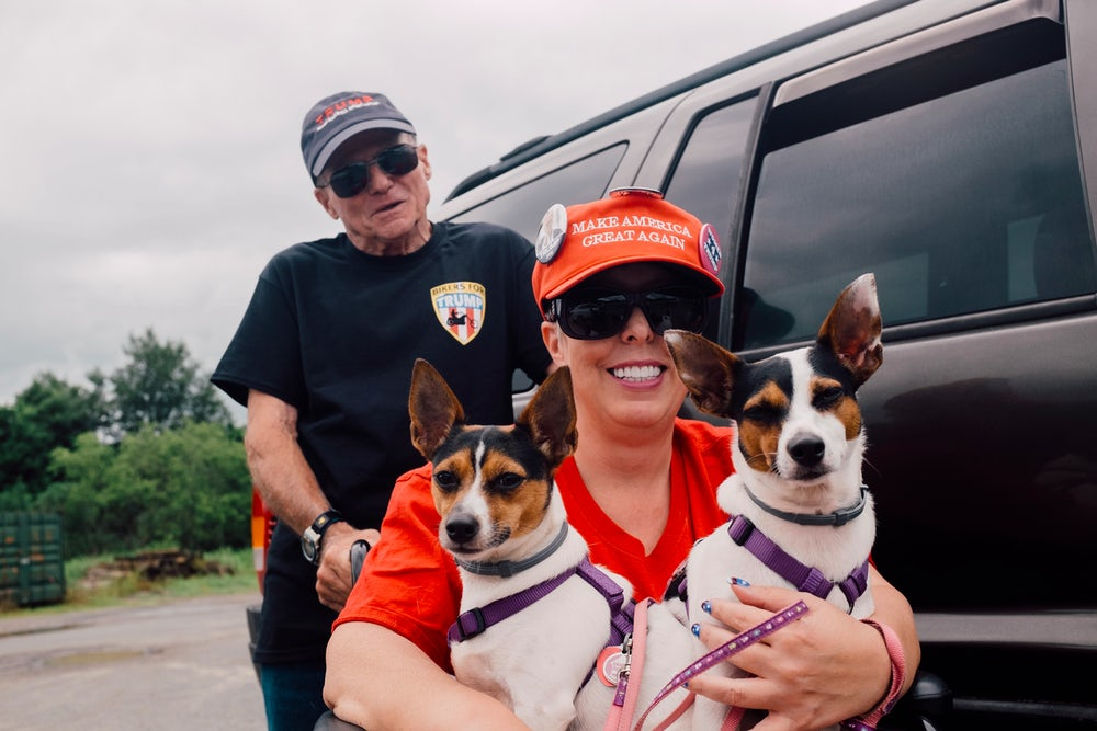 Cheryl and James Murray and their dogs, Chaos and Mayhem, drove in from New Jersey.